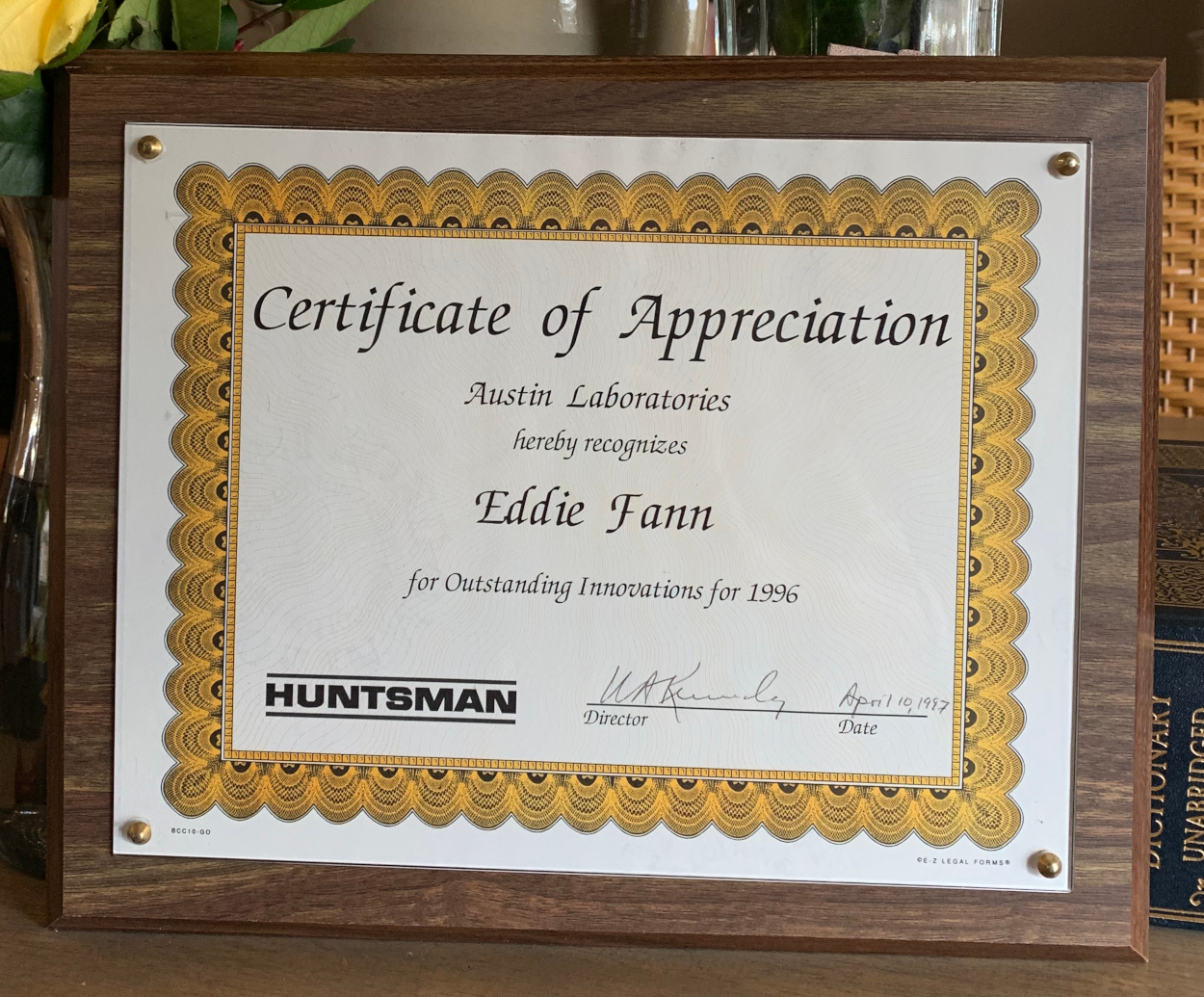Huntsman Certificate of Appreciation